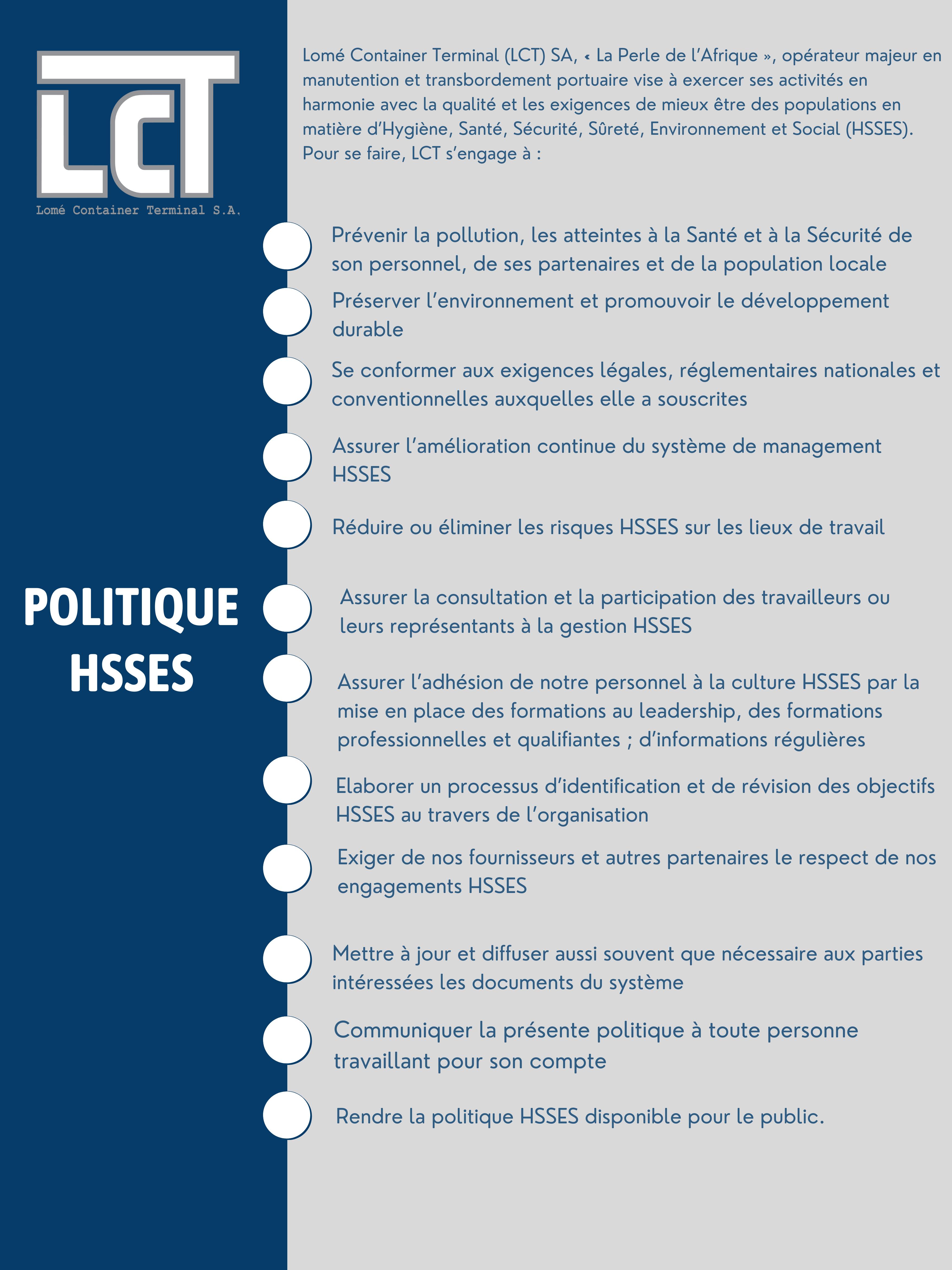 LCT POLITIQUE Hygiène, Sureté,Santé Environnement et social